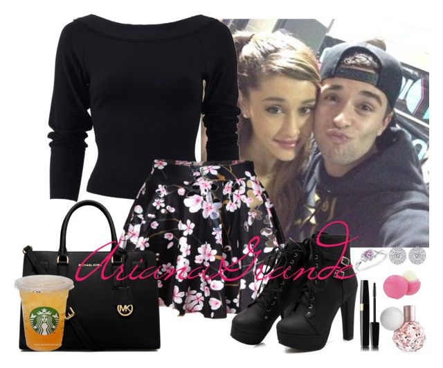 """Ariana :)"" by liveforamoment ❤ liked on Polyvore featuring moda, Donna Karan, MICHAEL Michael Kors, Eos, ArianaGrande e jakemiller"