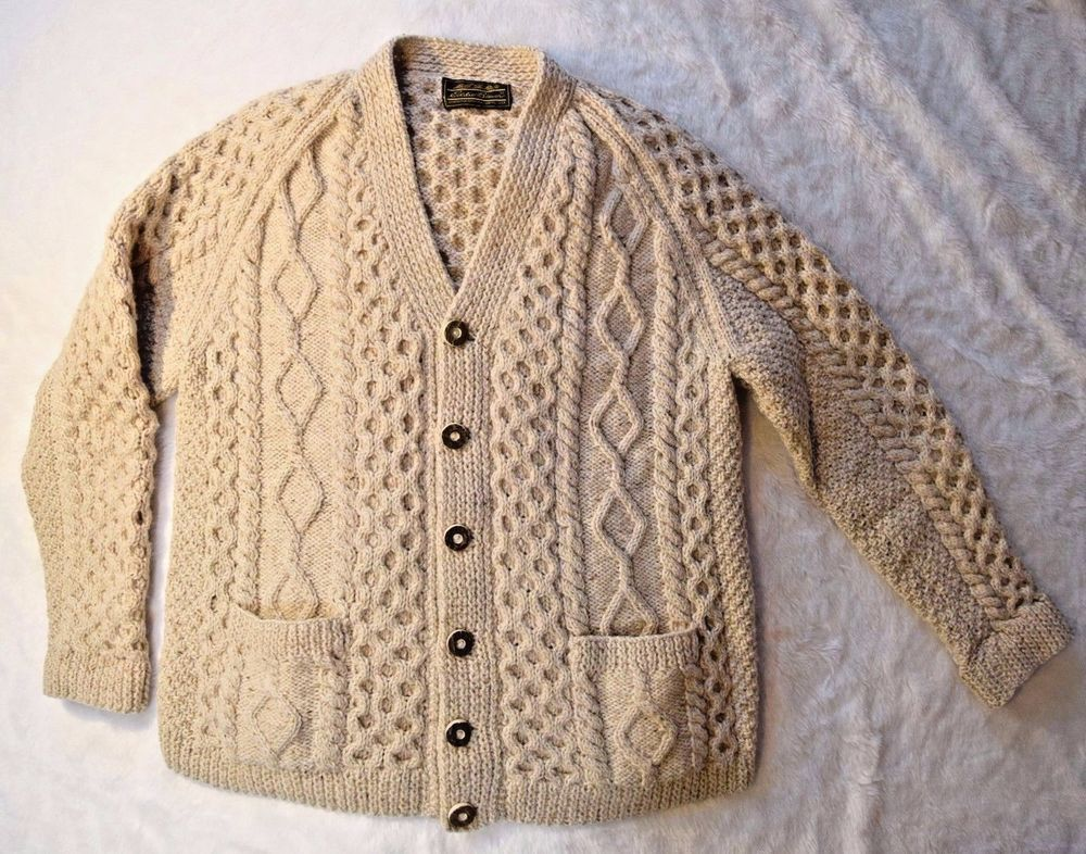 Eddie Bauer Scotland 100 Wool Ivory Chunky Cable Knit Sweater