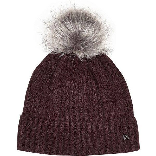 5d0651ec227 River Island Dark red pom pom beanie ( 26) ❤ liked on Polyvore featuring  accessories