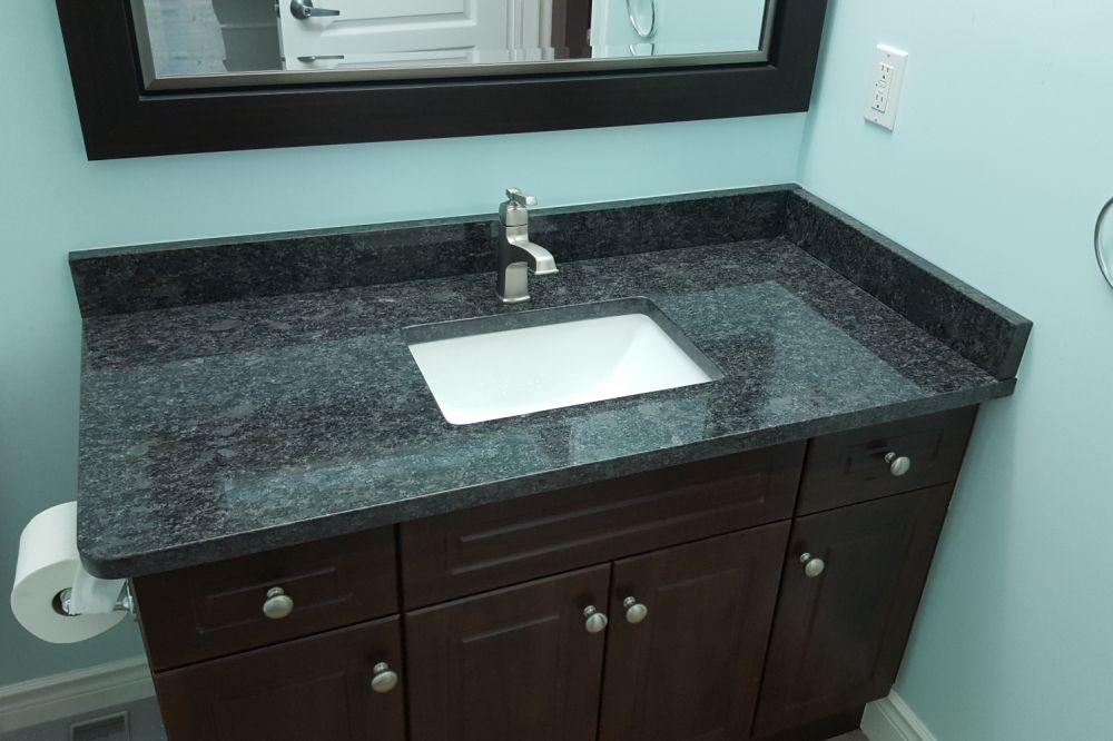 Bathroom Vanity Countertop Using Steel Grey Granite And A White