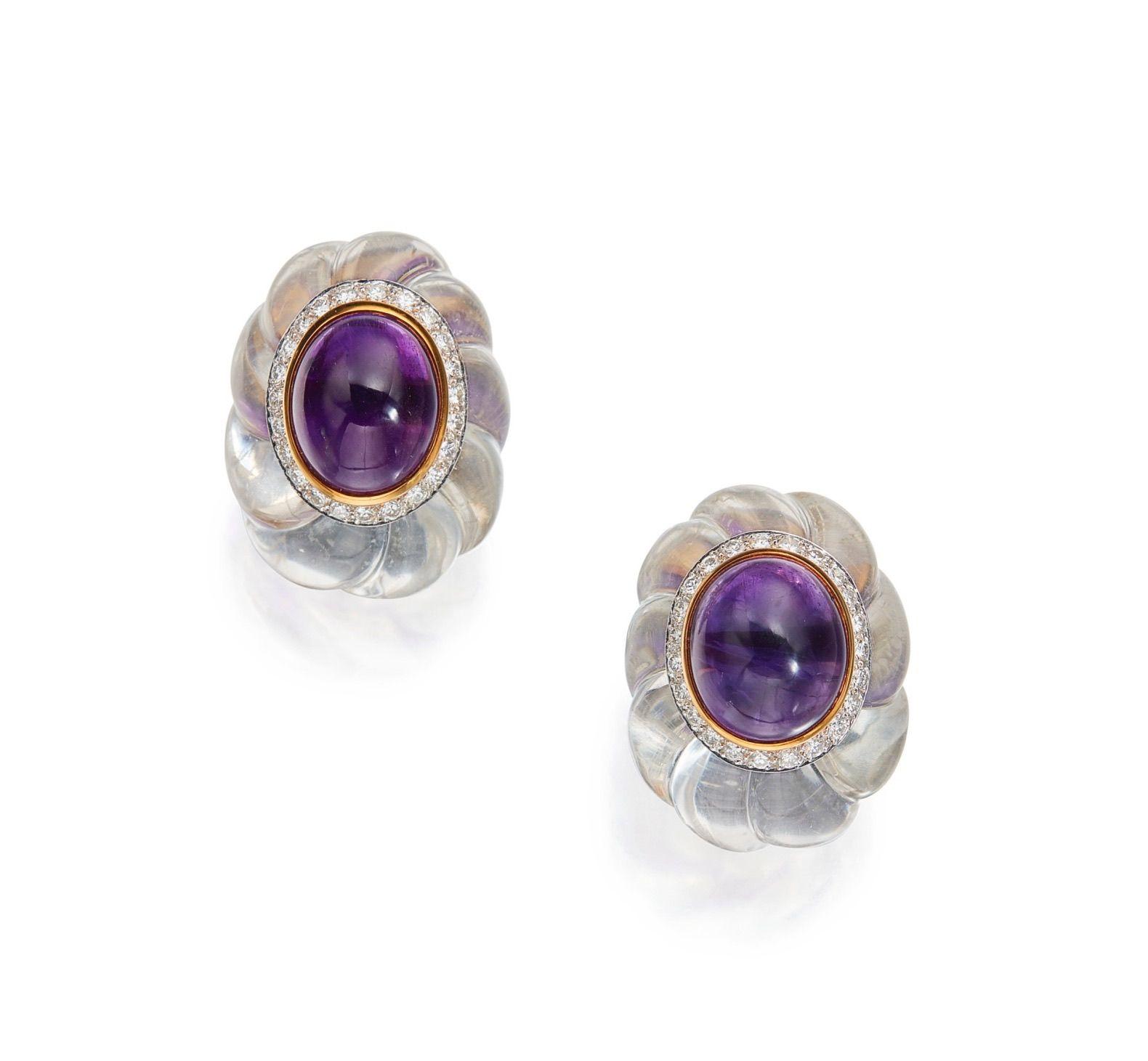 David Webb Cabochon Amethyst, Diamond, Rock Crystal, Platinum and 18K Gold Earrings