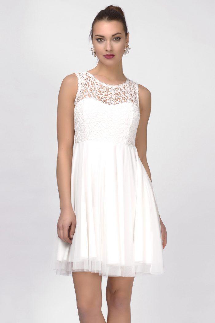 49.90TL İRONİ ÖPÜCÜK YAKA BEYAZ KISA ABİYE ELBİSE | Beyaz elbise ...