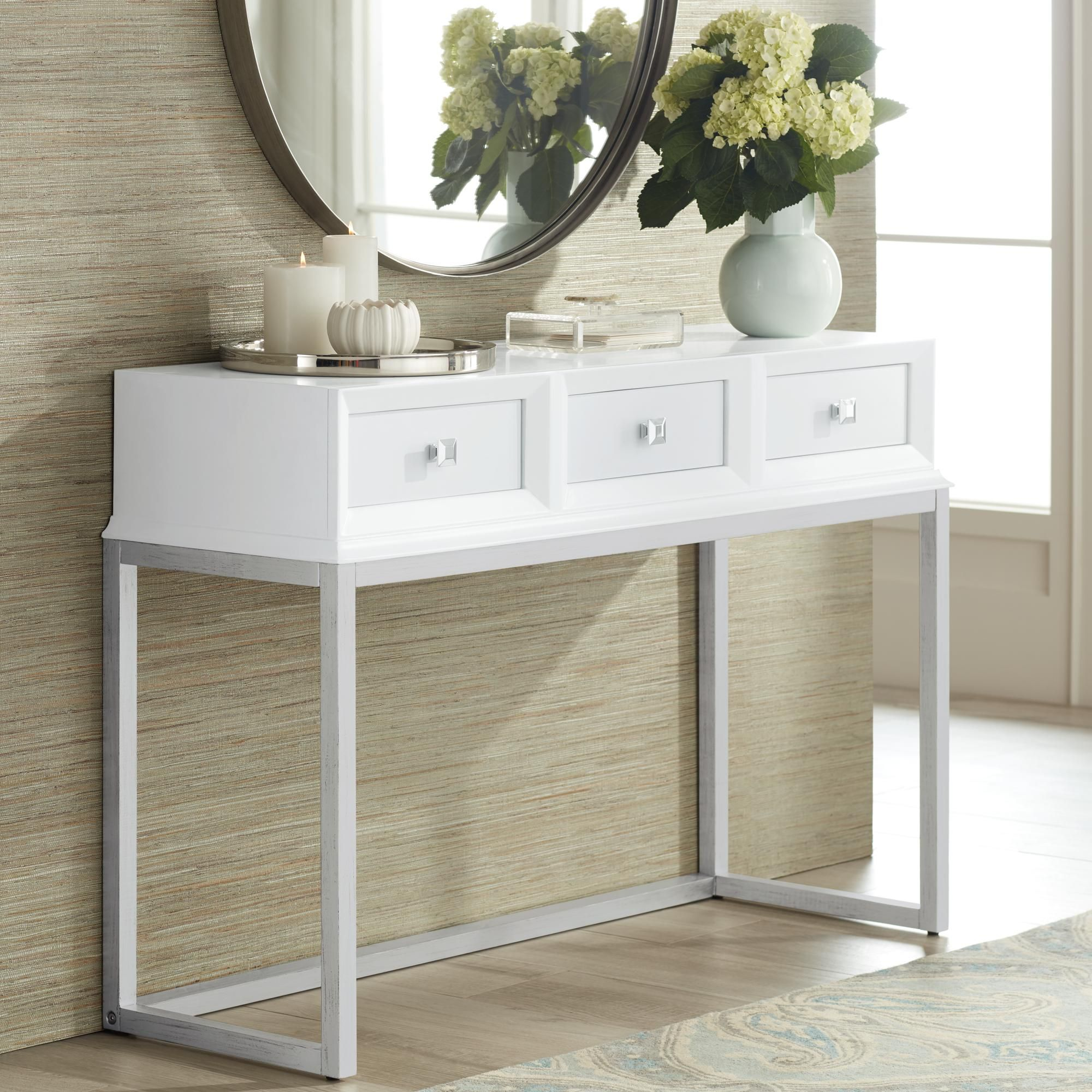 "Tables Melissa 48"" Wide White 3Drawer Modern Desk or"