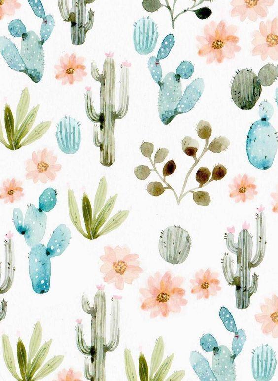 Cactus Pastel Aquarelle Décoration Motif Cactus Watercolour