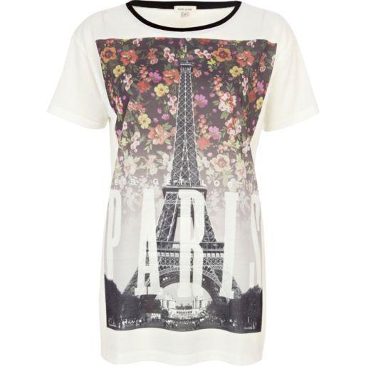 White floral Paris print t-shirt