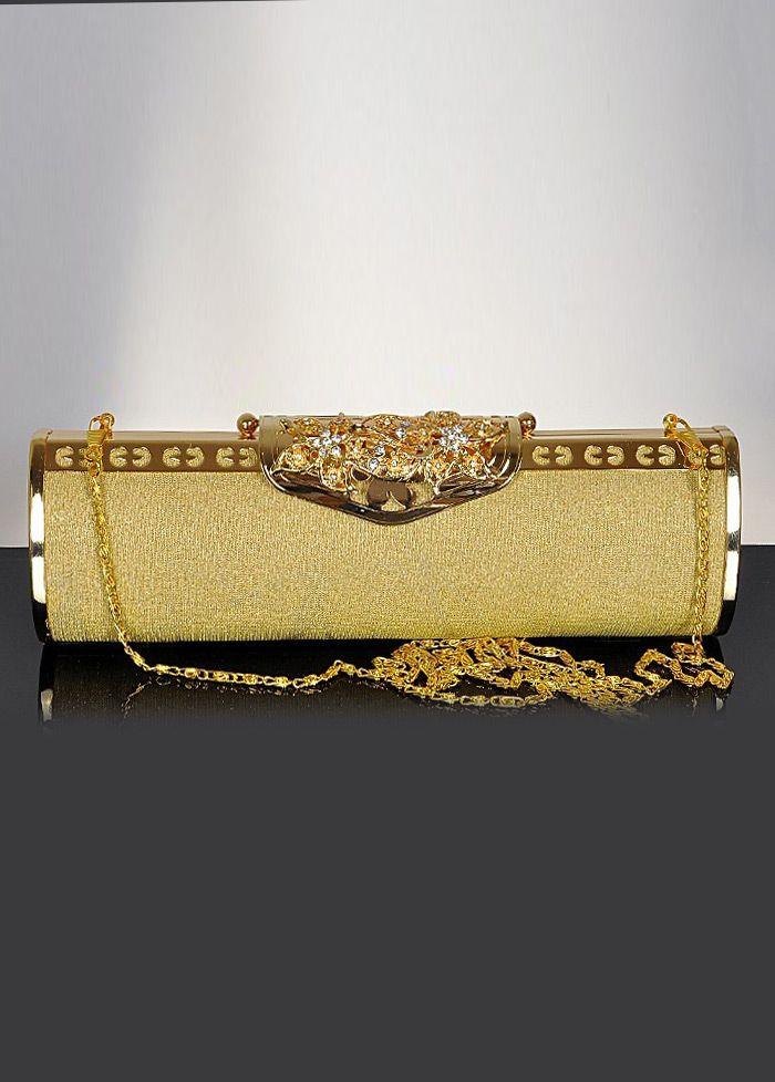 Luxury Gold Soft Silk Clucth Bag With Shining Czech A Diamonds  shopsimple.com