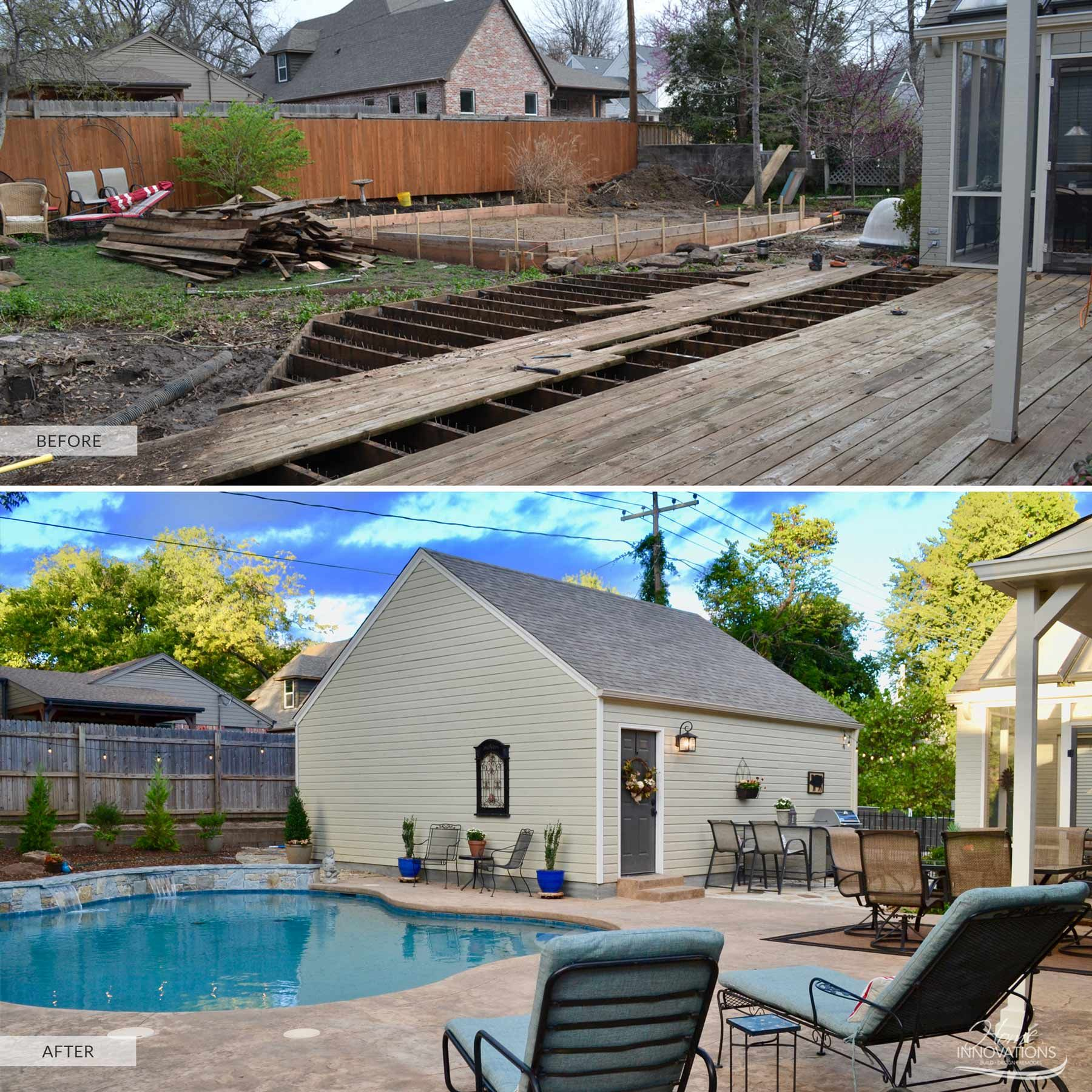 Before after backyard with pool stamped concrete for Detached garage pool house