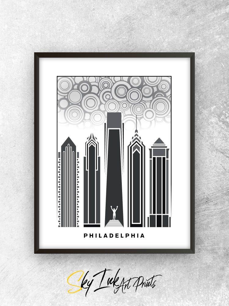 Handmade philadelphia pennsylvania skyline art poster