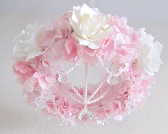 Floral Chandelier Pink Mobile Wedding Decor Or Shabby Chic