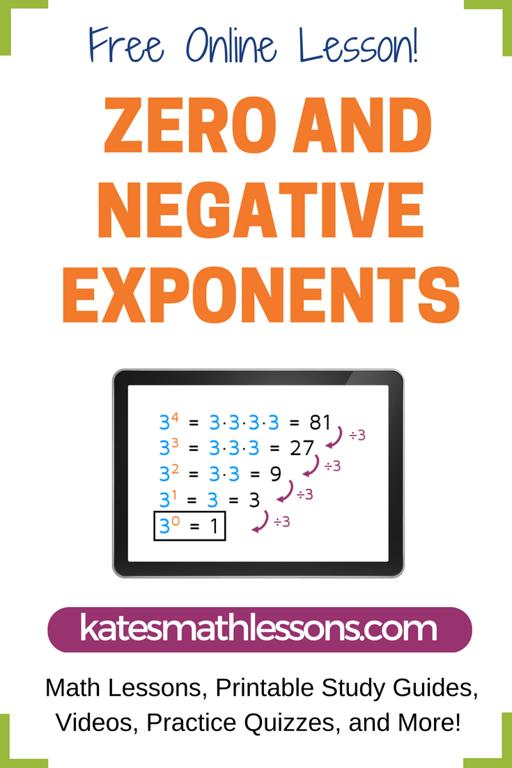 Zero and Negative Exponents | Free math, Math and Algebra