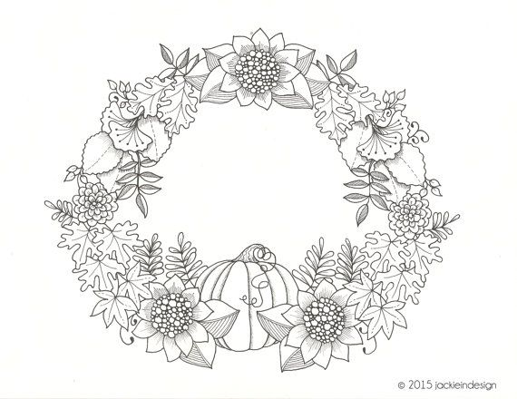 Fall Wreath Coloring Page Pdf Instant Download Flower Wreath Flower Coloring Pages Coloring Pages