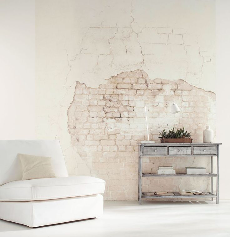 Faux Brick And Plaster Wall: This Distressed Brick Wall Effect #wallpaper Mural Is