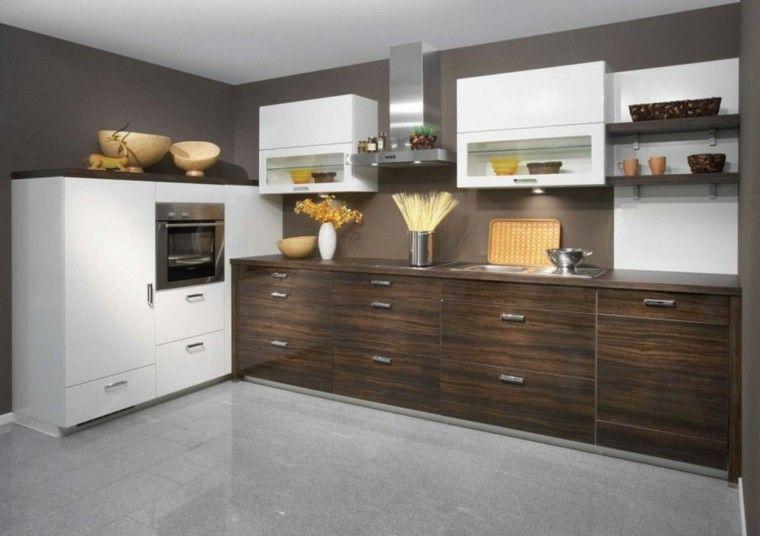 Blanco Y Madera Cincuenta Ideas Para Decorar Tu Cocina Muebles De Madera Oscura Decoracion De Comedores Pequenos Decoracion De Cocina Moderna
