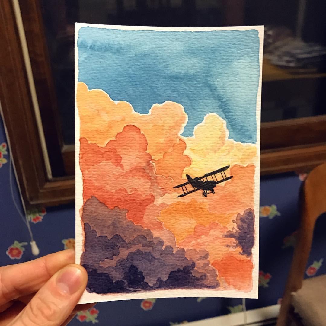 Fly Away Little Plane Watercolor Cloudscape Biplane Flight
