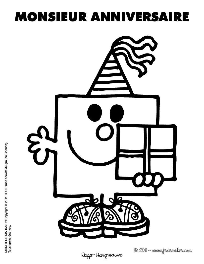 Coloriage imprimer monsieur anniversaire monsieur et - Coloriage de anniversaire ...