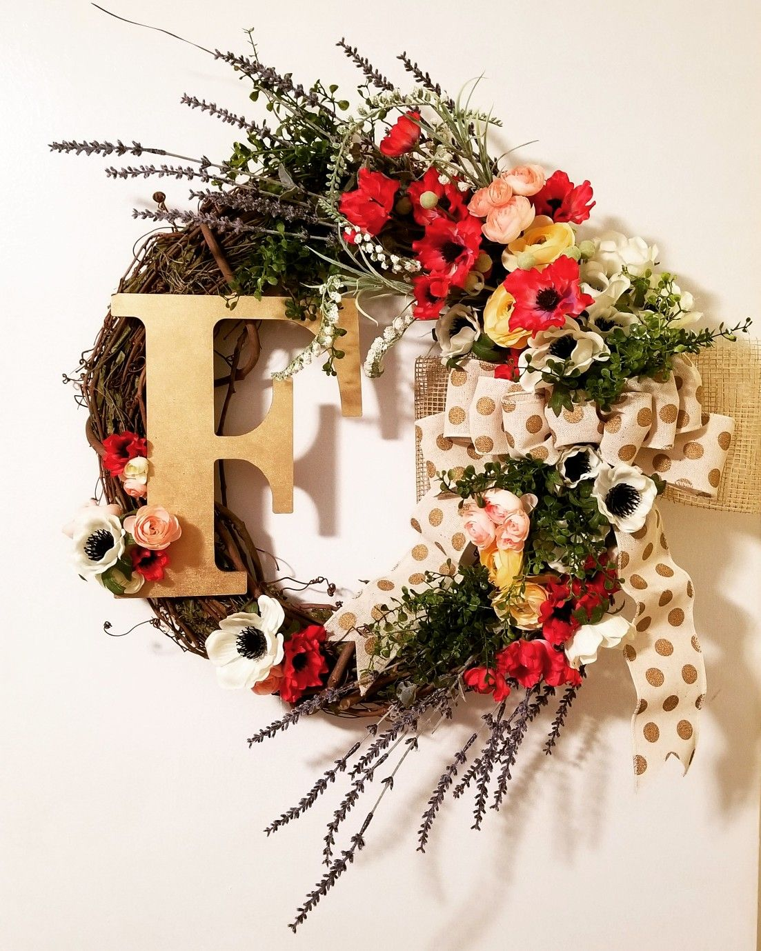 Grapevine Wreath With Wood Letter Spring Wreath Wreaths Grapevine Wreath
