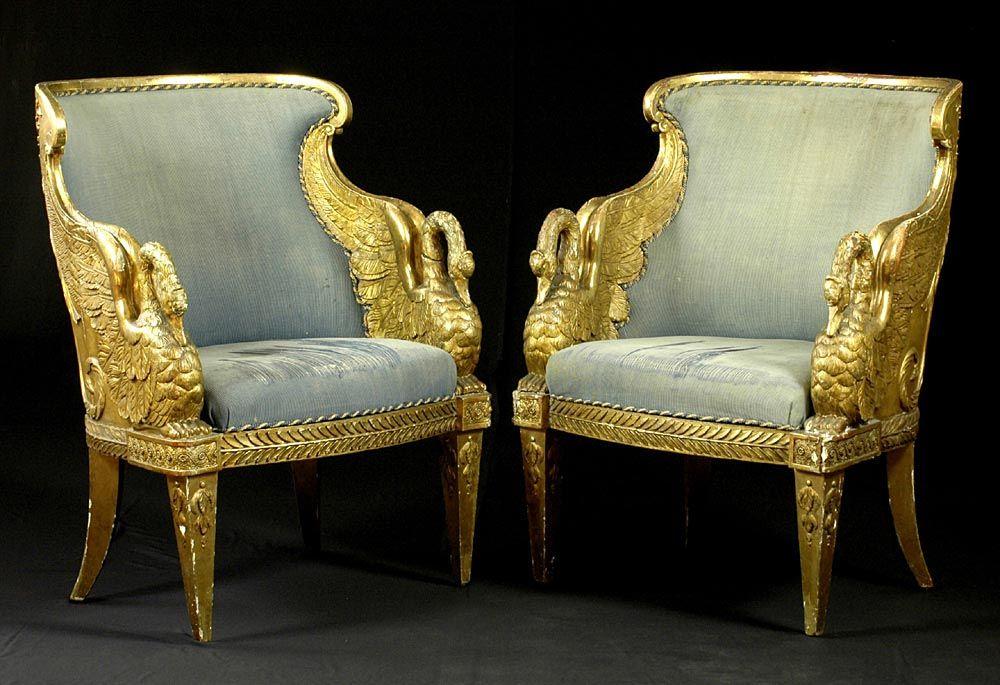 Francois Honore Georges Jacob Desmalter 1770 1841 Attributed Fauteuil Gondole De Cygne Paris Napo Gilded Furniture Universal Furniture European Furniture