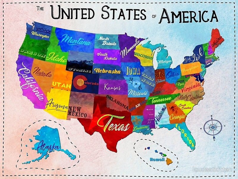 Map Of America States Watercolor Mosaic Map of the United States of America | Poster