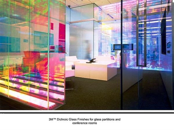 Decorative films llc new 3m dichroic glass finishes df for Types of glass used in interior