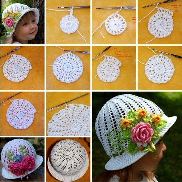 Chica en el sombrero de ganchillo con los patrones.   Crochet ...