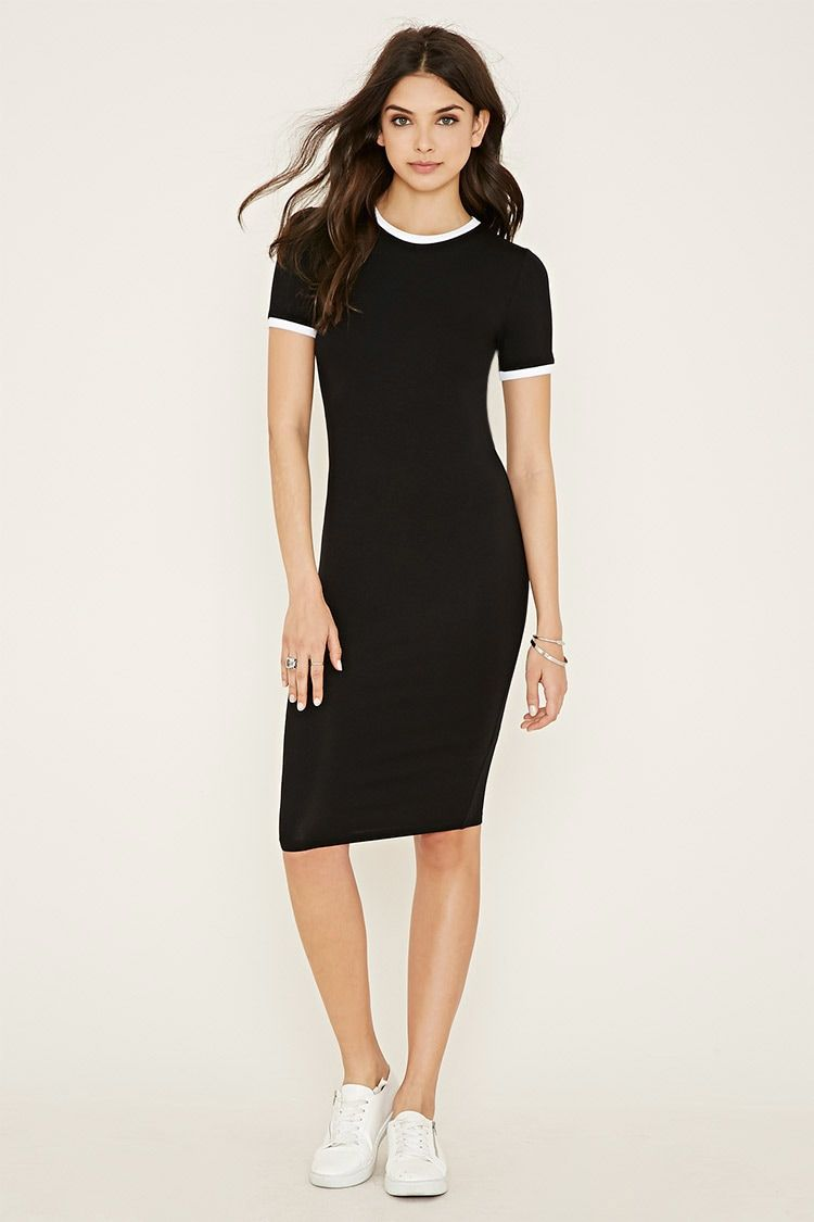 This knit tshirt dress features a contrast round neckline and short