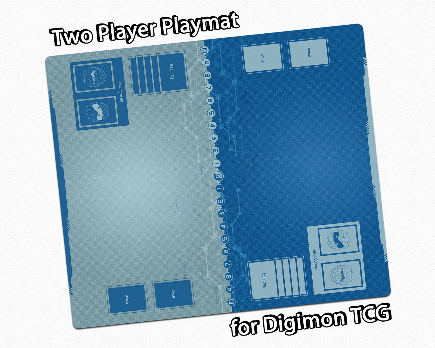 Two Player Digimon Tcg Playmat With Custom Field Zones For Stylish Organized Gaming Card Game Mat With Memory Gauge And Digitama Deck Area Card Game Mat Playmat Digimon