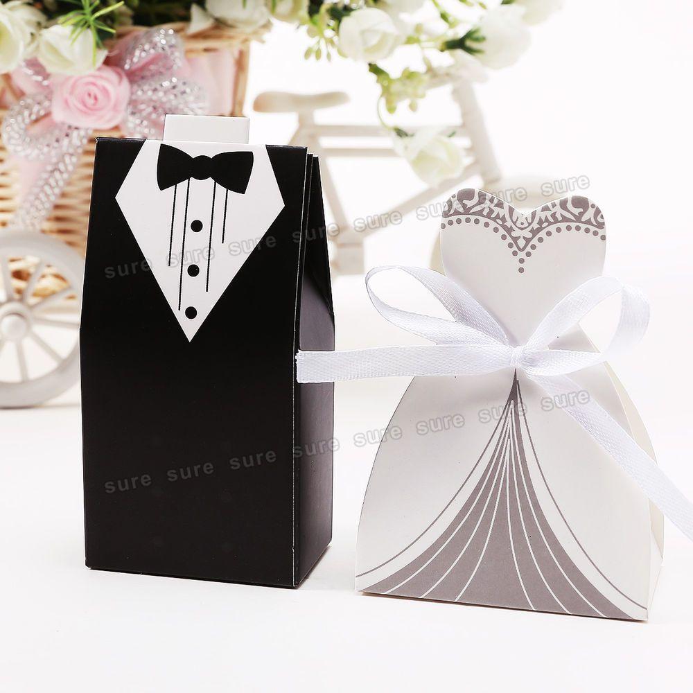 60pcs Bride and Groom Wedding Favor Candy Boxes Black Tuxedo White ...