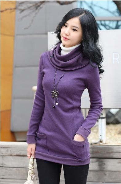 Trendy Long Sleeve Sweater With Scarf | Bow necklace, Cowl neck ...