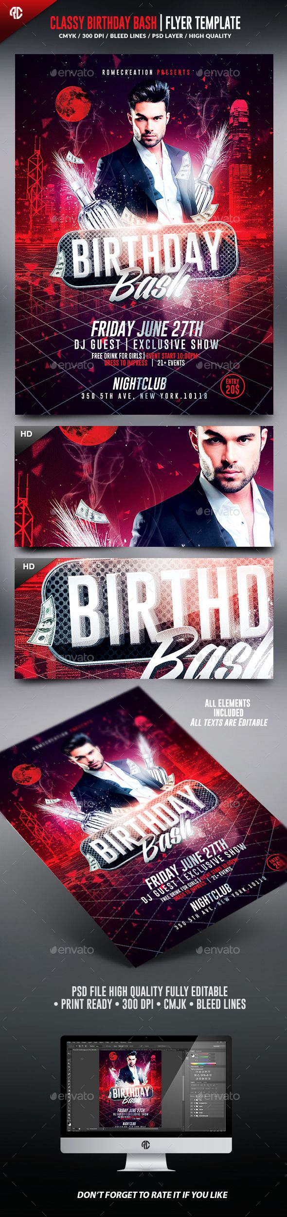 Birthday Bash  Classy Flyer Template  Flyer Template Birthday
