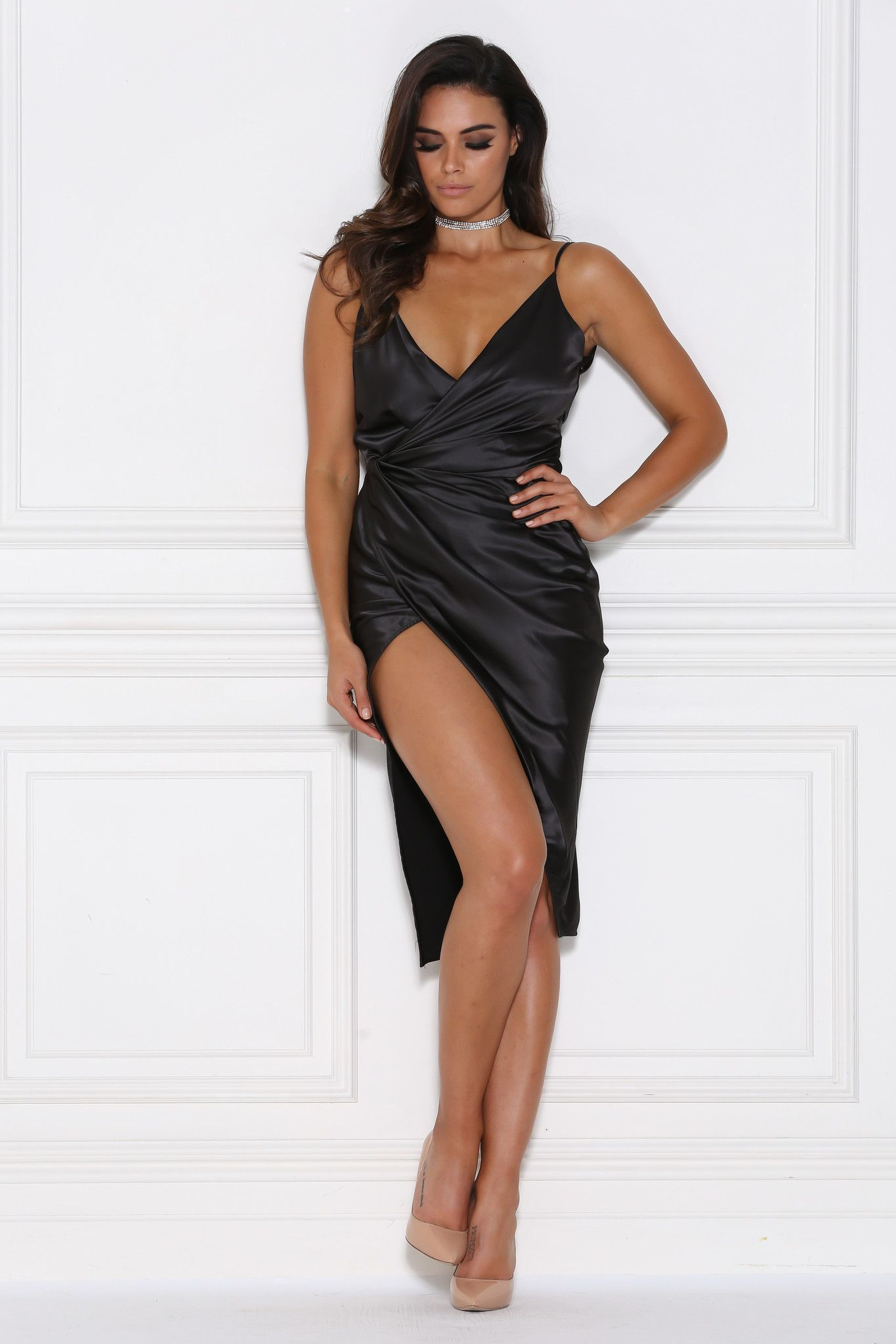 Sasha Satin Wrap Dress - Black | Wrap dresses, Satin and Wraps