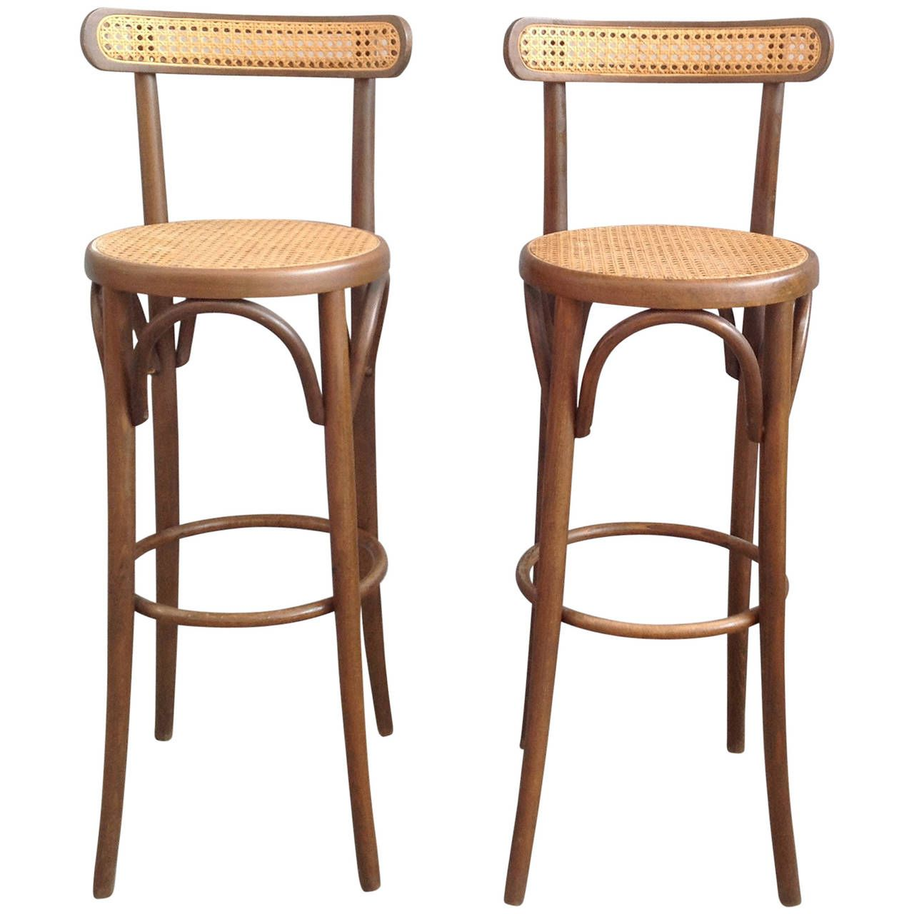 Pair Of Bar Stools In The Thonet Style