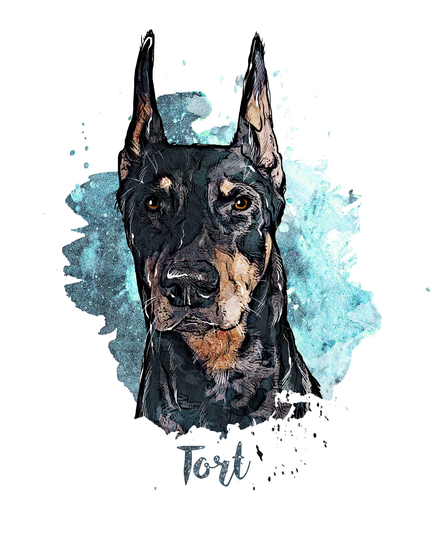 Custom Pet Portrait Watercolor Dog Painting Digital Pet Art