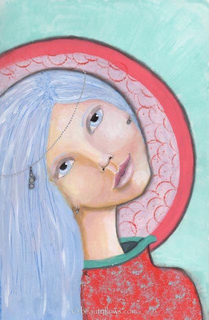 Tilt to Listen, Tilt to Understand, Beautiful Goddess, Spheres of Magic, Coral Aura, Greeting Card