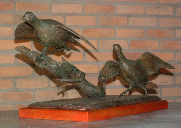 #Bronze #sculpture by #sculptor Jos� Miguel Franco de Sousa titled: 'Partridges (Pair Bronze Partridges Taking Off sculpture)'. #Jos�MiguelFrancodeSousa
