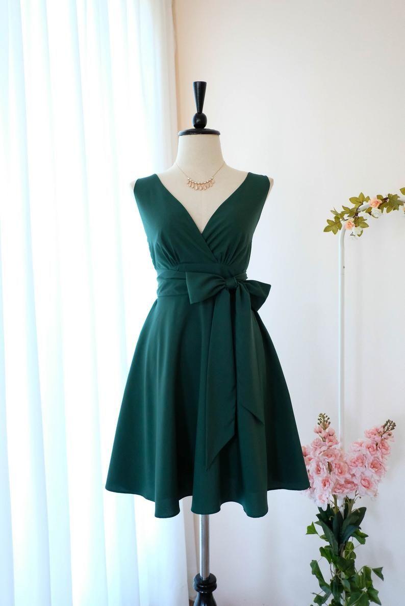 Forest green dress green Bridesmaid dress green Vintage dress Wedding guest dress Tea Party dress green sundress Anniversary dress -   17 dress Green vintage ideas