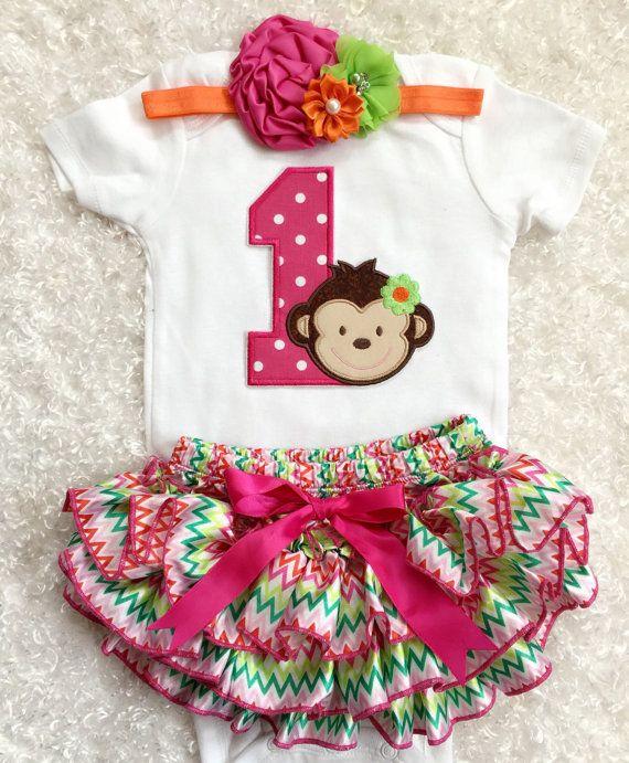 First Birthday/ Monkey Girl/Monkey Birthday/Hotpink by BabyTrendzz