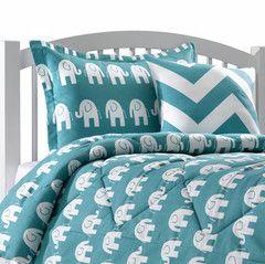 Turquoise Elephant Dorm Bedding Sham Elephant Bedding Dorm Room Bedding Dorm Bedding