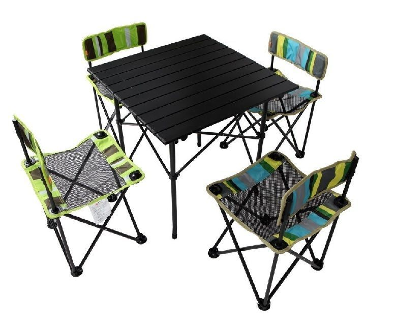 Folding Chair Table Set 4 Person Family Kids Outdoor Picnic