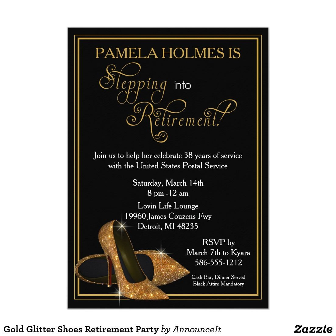 Gold Glitter Shoes Retirement Party Card  Gold Glitter Shoes