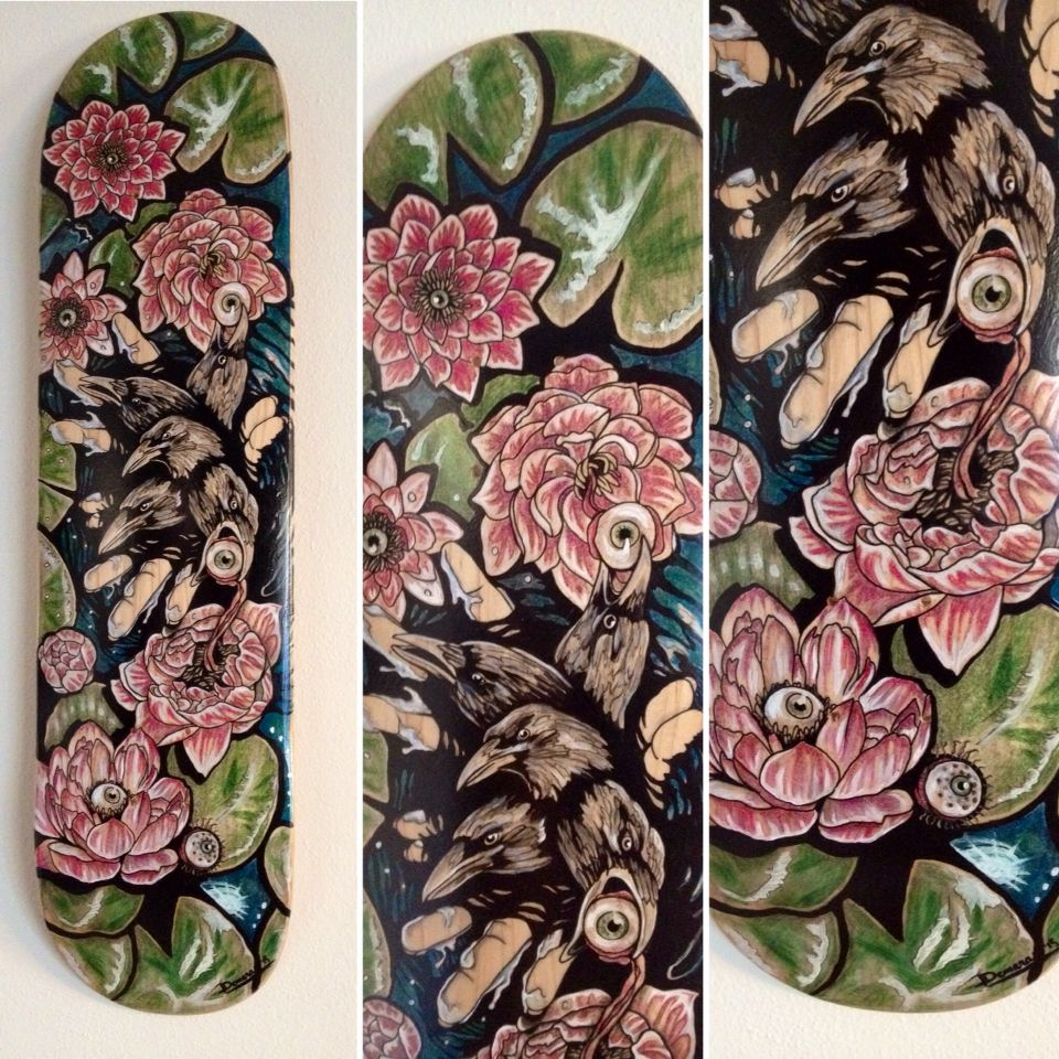Muddy Waters, 2015: by Danielle Demaray: skate deck created for silent auction at Art Deck-O #skateboardart #deckart #boardart #darksurrealism #popsurrealism #surrealism #darkart #mahakala