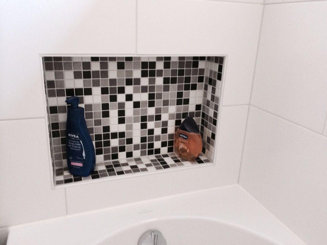 Mozaïek tegel zwart wit grijs wc pinterest house