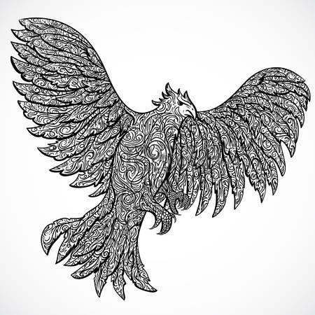 falke: Fliegender Adler mit dekorativen Ornament. Tattoo-Kunst ...