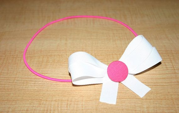 White And Pink Hair Bow Headband White Hair Bow by ItsyBitsyBeauty