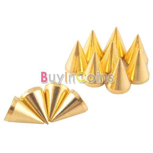 New 20Pcs 10mm Gold Cone Spikes Screwback Studs Leather Craft DIY Goth Punk Spot