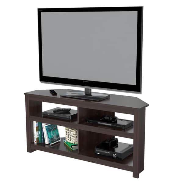 Inval Contemporary Espresso Corner Tv Stand New House Corner Tv