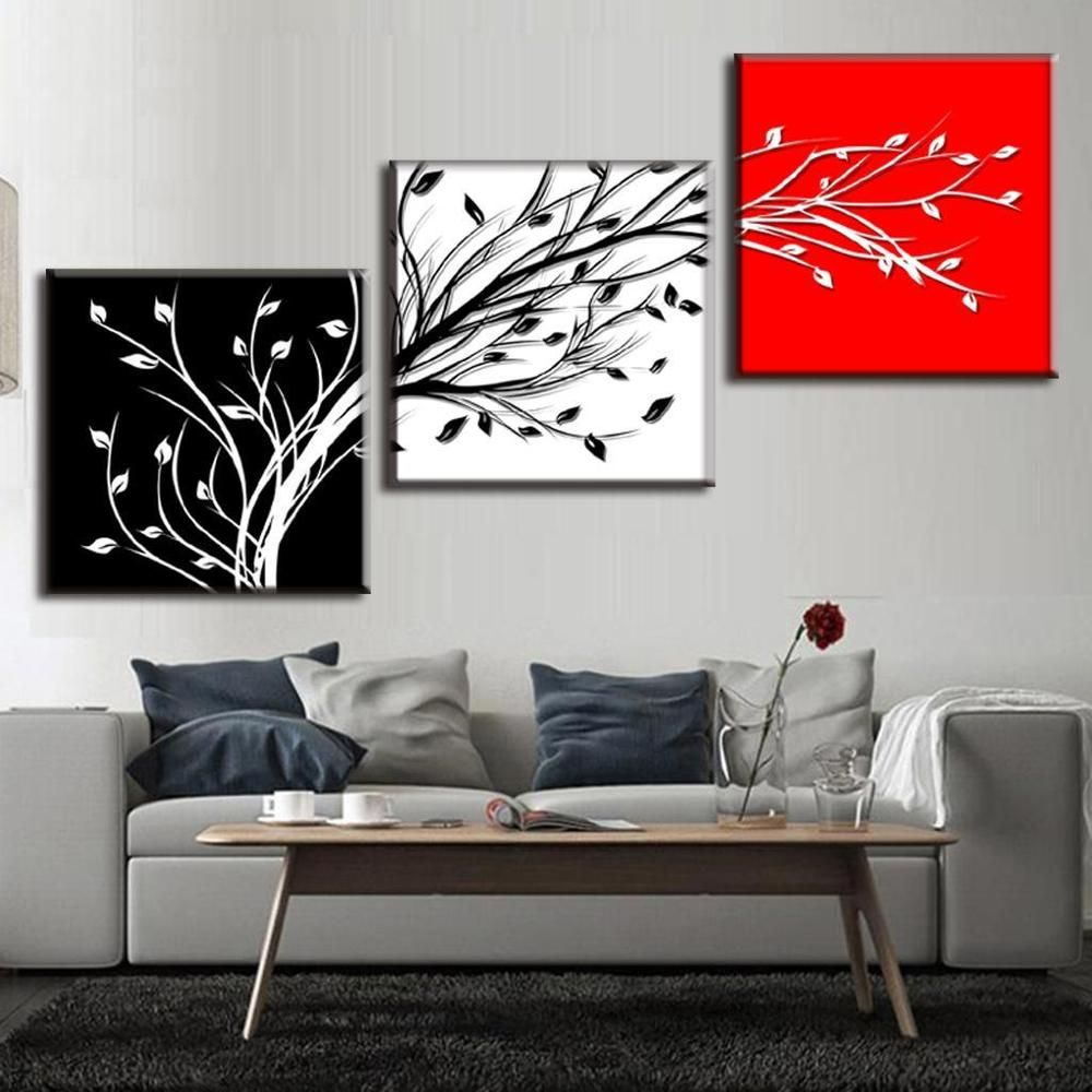 Abstract wall art white black red modern branches canvas print home