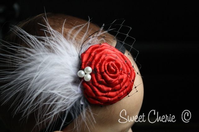 red satin rosette couture headband
