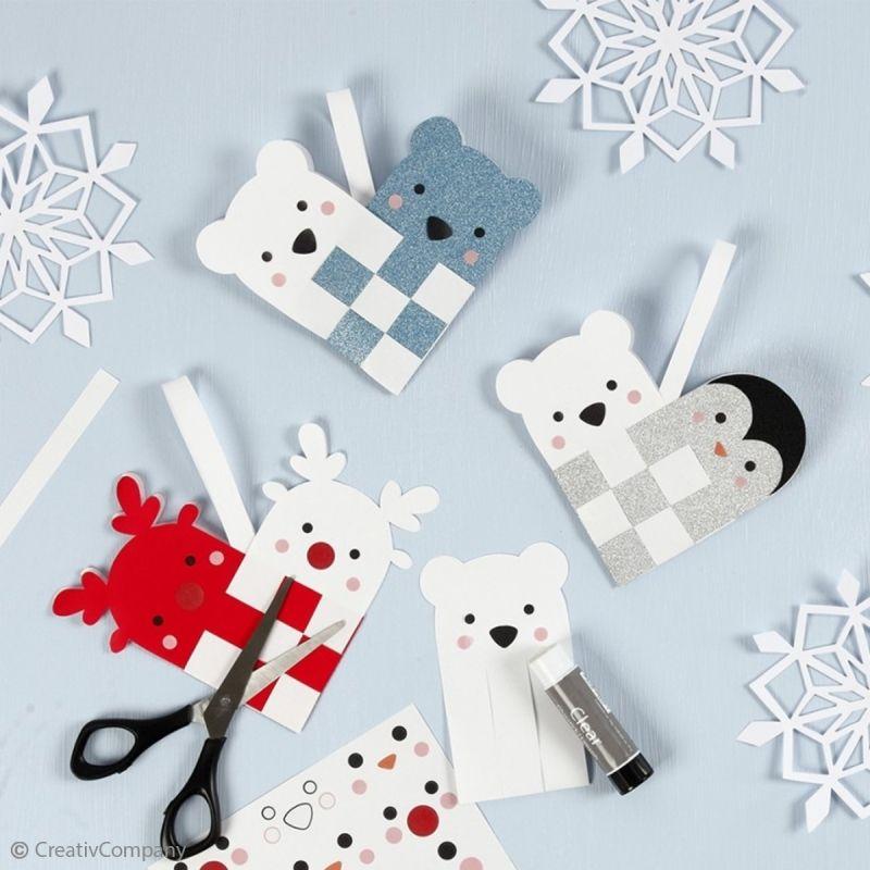 DIY Noël enfant : Faire des suspensions polaires en papier - Idées conseils et tuto Noël #activitémanuelleenfantnoel