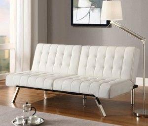White Futon Faux Leather Sofa Bed In Vanilla Cream Convertible