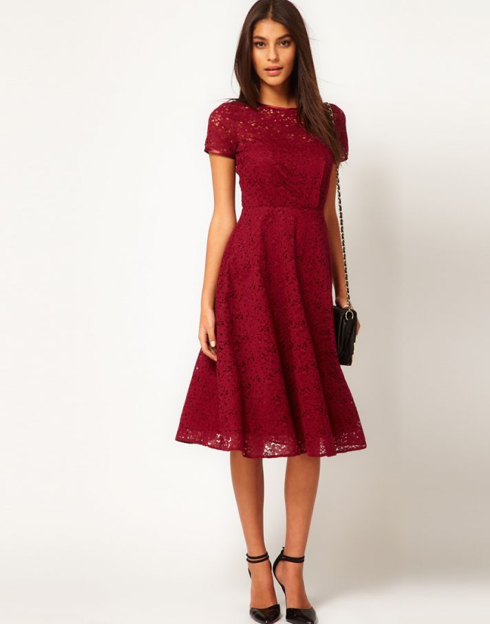 Dark Red Maroon Lace Bridesmaid Dress Short Sleeves